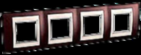Рамка на 4 поста. Цвет Терракотовый/Бежевый. Schneider electric Unica Хамелеон. MGU6.008.551