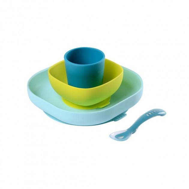 Набор посуды: 2 тарелки, стакан,ложка (4 предмета) из силикона Blue