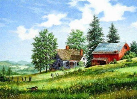 Картина раскраска по номерам 50x65 Дома в деревне