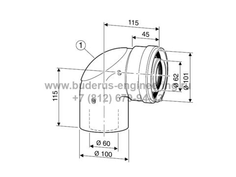Угловое колено 90гр DN60/100 с ревизией для Buderus Logamax U072