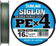 Плетёный шнур Sunline SIGLON PEx4 Dark Green 150m #0.4/6lb