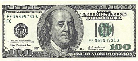 Печать на сахарной бумаге, Купюра 100 долларов