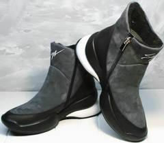 Зимние сникерсы с мехом женские Jina 7195 Leather Black-Gray
