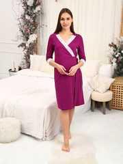 Мамаландия. Халат для беременных и кормящих с кружевом, малиновый