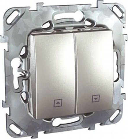 Выключатель для жалюзи с фиксацией. Цвет Алюминий. Schneider electric Unica Top. MGU5.208.30ZD