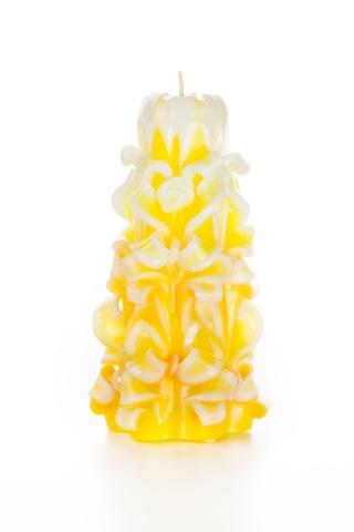 Свеча-резная ручной работы LACE SUN-L (кружева солнца), h 16 см TM Aromatte