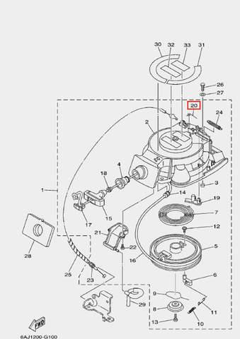Пружина стопора возвратная для лодочного мотора F20 Sea-PRO (10-20)
