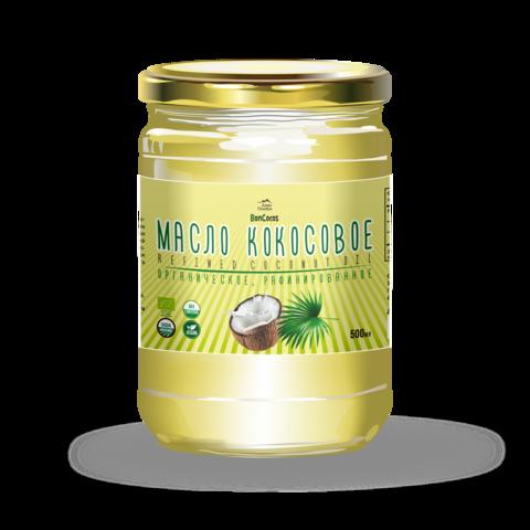 Масло кокосовое для жарки, рафинированное BONCOCOS, органическое, 500 мл