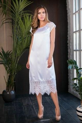 Длинное ночное платье с кружевами Evelin белое
