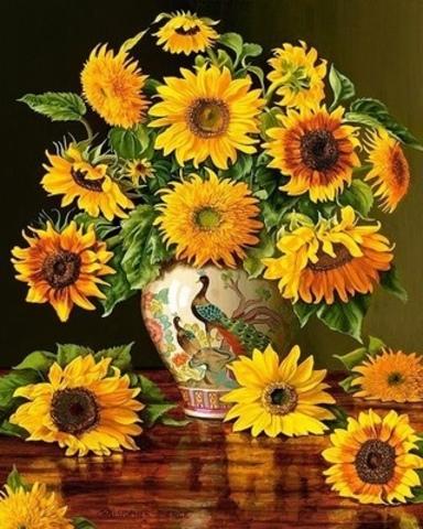 Алмазная Мозаика 40x50 Цветы в вазе с павлинами (арт. GA74096 )
