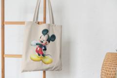 Сумка-шоппер с принтом Микки Маус (Mickey Mouse) бежевая 007