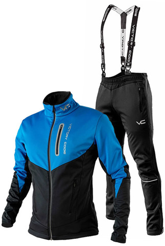 Утеплённый лыжный костюм 905 Victory Code Go Fast Blue с лямками мужской