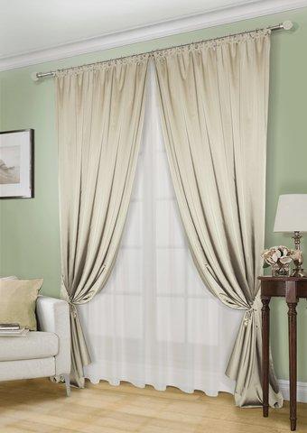 Комплект штор Линда сатен светло-оливковый с подхватами и тюлем