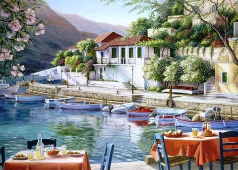 Картина раскраска по номерам 50x65 Кафе у лодочной станции