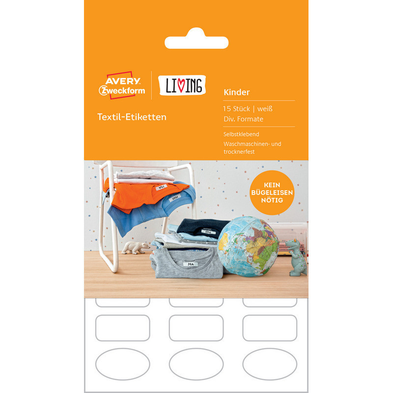 Этикетки самоклеящиеся 62033 Living от Avery Zweckform, для одежды, белые, 15 этикеток