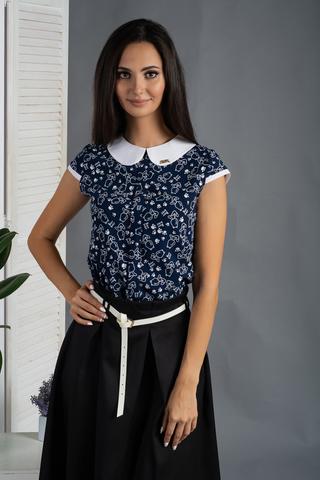 Віта. Класична блуза з круглим коміром. Сині ведмедики