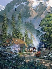 Картина раскраска по номерам 50x65 Дом в дикой природе