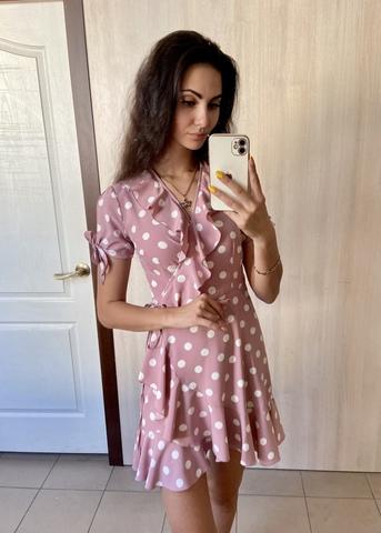 Марта. Літнє плаття на запах з воланами. Пудра крупний горох
