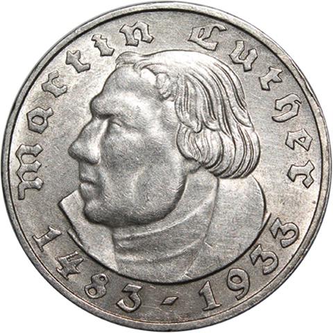 2 марки. 3 Рейх (450 лет со дня рождения Мартина Лютера) (A). 1933 г. XF