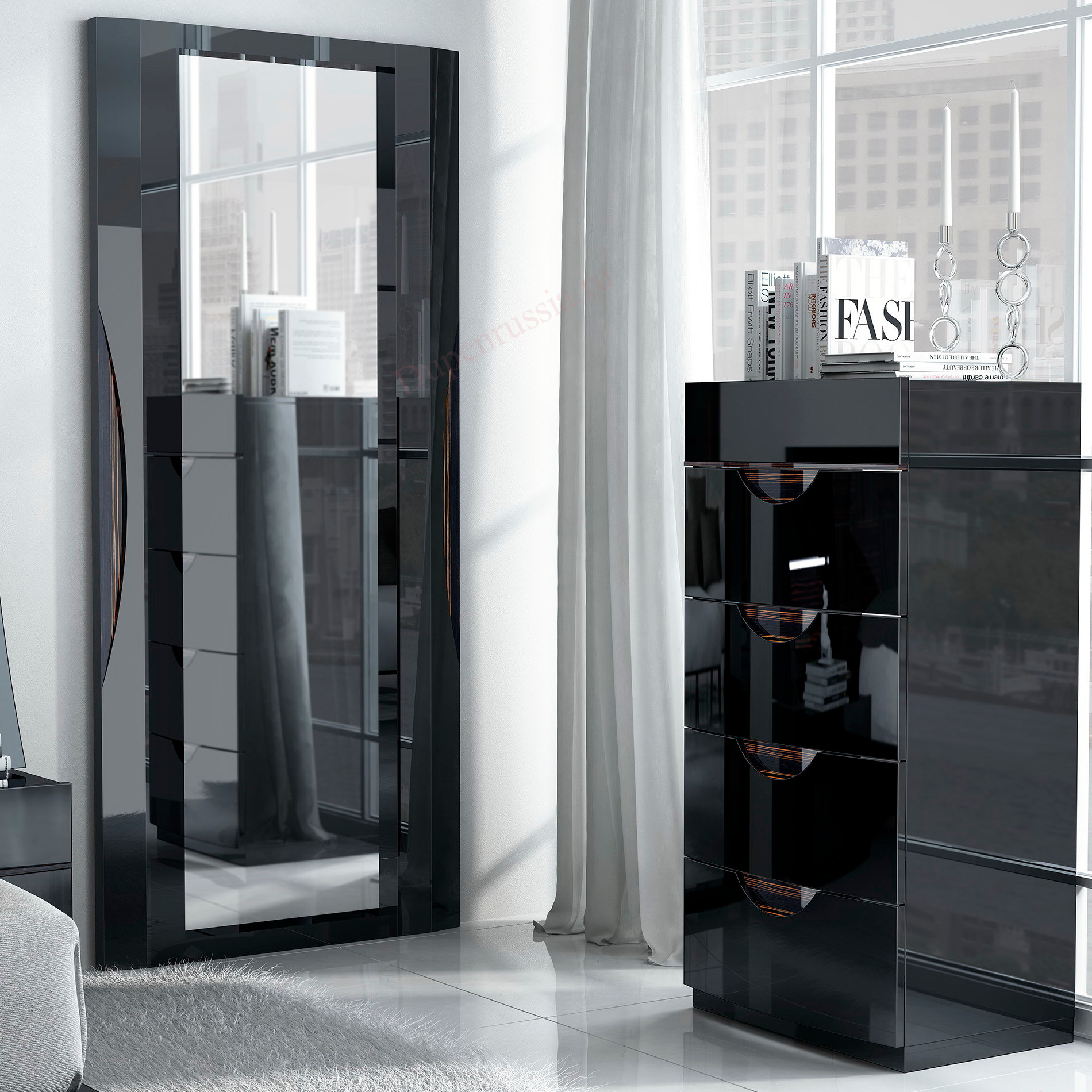 Зеркало FENICIA 5103 MARBELLA черный, Вертикальный комод FENICIA 3008