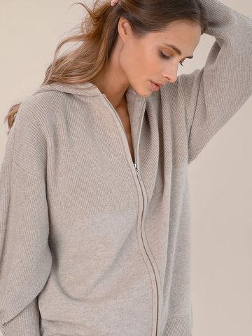Женский джемпер на молнии бежевого цвета из шерсти и кашемира - фото 3