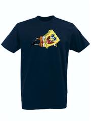 Футболка с принтом мультфильма Губка Боб Квадратные Штаны/ Спанч Боб (SpongeBob SquarePants) темно-синяя 006
