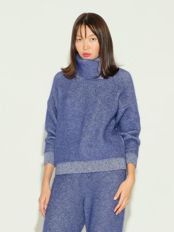 Женский свитер темно-синего цвета из мохера и кашемира - фото 2