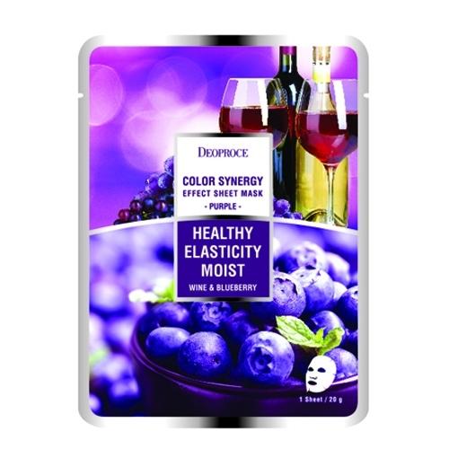 Тканевая маска вино и черника |  DEOPROCE COLOR SYNERGY EFFECT SHEET MASK PURPLE  20g/1 шт