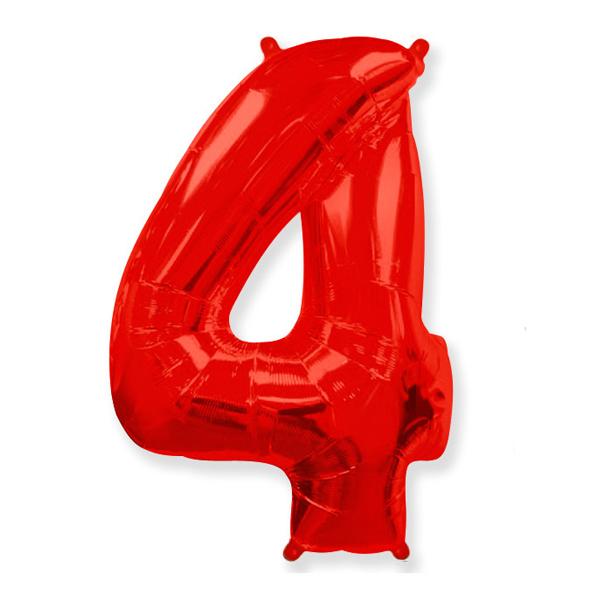 Фольгированная цифра 4, красный