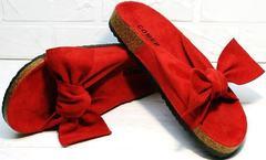 Красивые шлепанцы модные босоножки без каблука Comer SAR-15 Red.