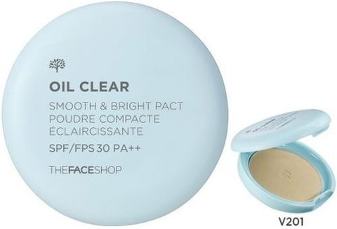 The Face Shop Компактная пудра Oil Clear Smooth & Bright Pact SPF30 PA++ #V201 Apricot Beige 9 г.