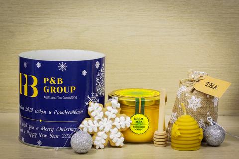Новогодние корпоративные подарки в тубусах (пример 2019 год)