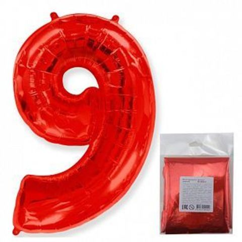 Цифра девять- красная