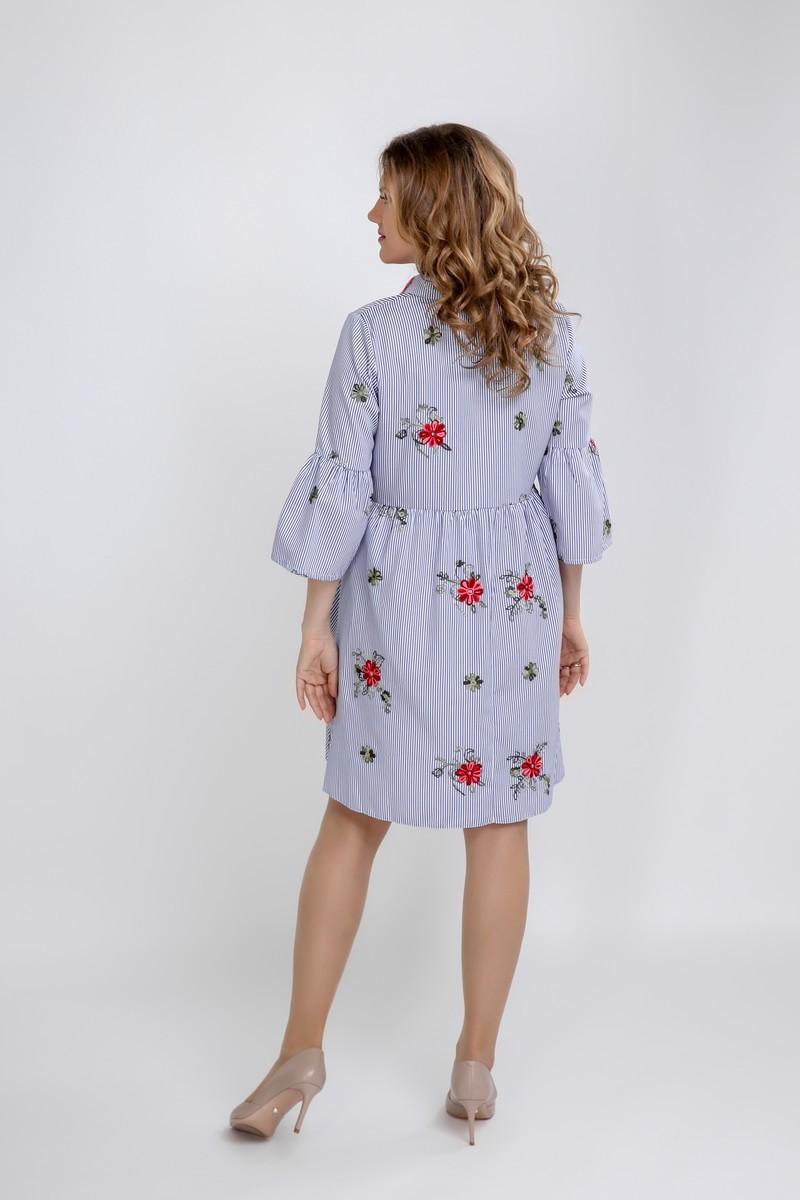 Фото платье-трапеция для беременных GEMKO от магазина СкороМама, синий, размеры.