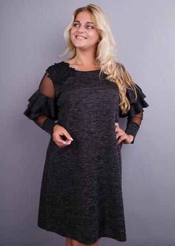 Юнона ангора. Стильна сукня для жінок з пишними формами. Графіт.