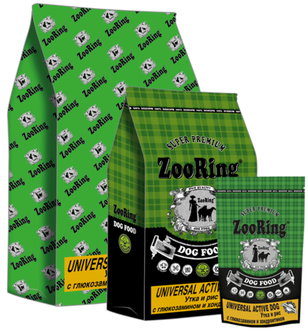 Корм для собак ZooRing Universal Active Dog Утка и рис с глюкозамином и хондроитином 20кг