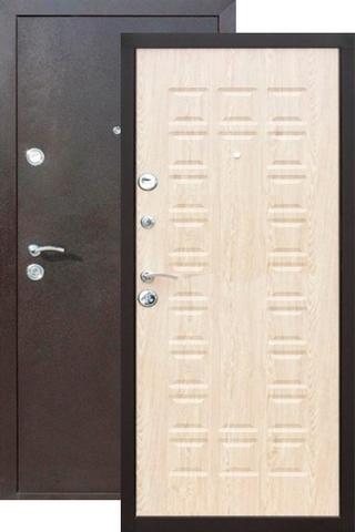 Дверь входная Йошкар Йошкар, 2 замка, 1,5 мм  металл, (медь антик+беленый дуб)