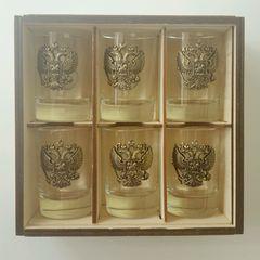 Набор коллекционных сувенирных рюмок «Герб РФ» 6 шт, фото 5