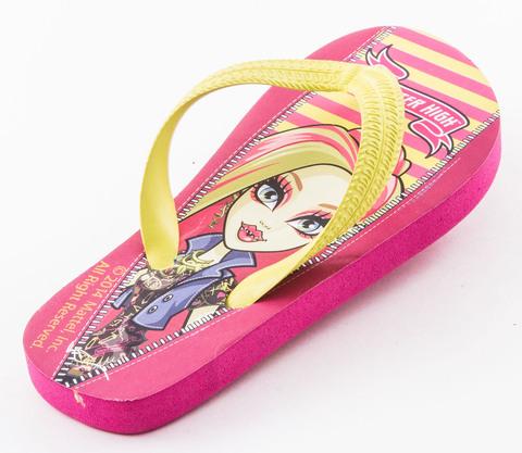 Шлепанцы Монстер Хай (Monster High) пляжные сланцы для девочек, цвет розовый желтый. Изображение 1 из 8.