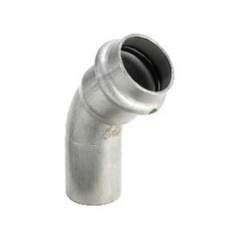 Отвод однораструбный 45° Sanpress Inox 22, нержавеющая сталь, Viega