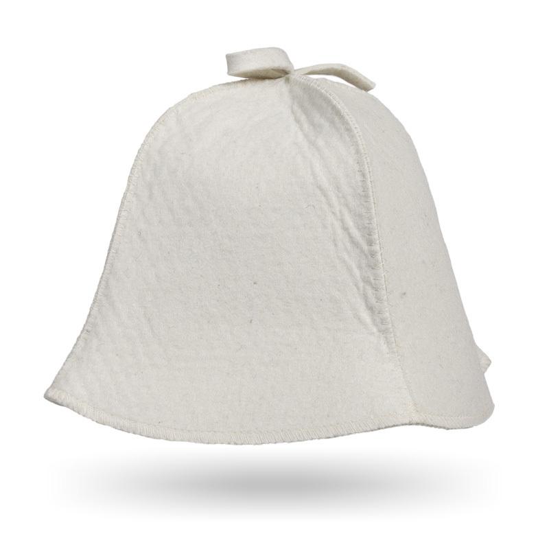 Шапка для бани Классика белый войлок