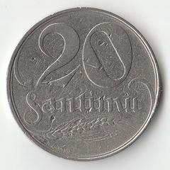 Монета 20 сантим 1922 года.