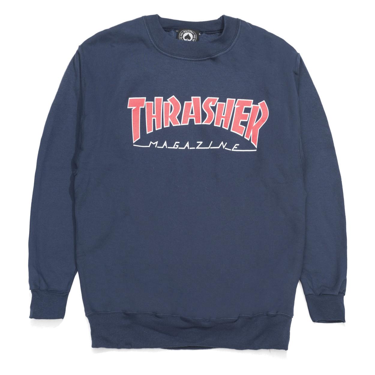 Толстовка (свитшот) THRASHER Outlined Logo Crew Navy