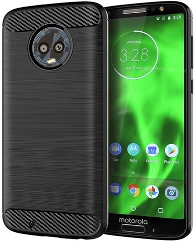 Чехол Motorola Moto G6 цвет Black (черный), серия Carbon, Caseport
