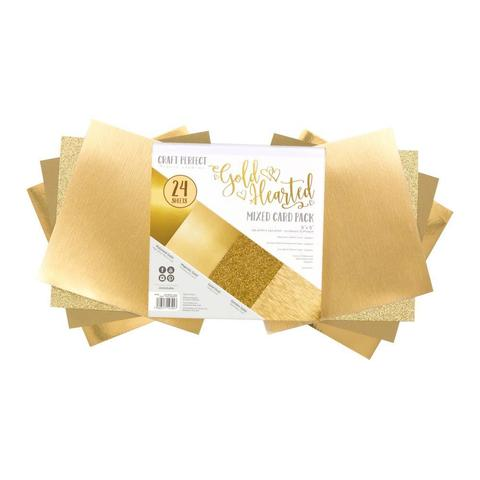 Набор односторонней  бумаги c глиттером 15х15 см -Craft Perfect Mixed Card Pack- Gold Hearted-24 л