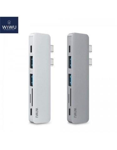Переходник с зарядкой Hub Type-C 5in1Wiwu A641WC /silver/