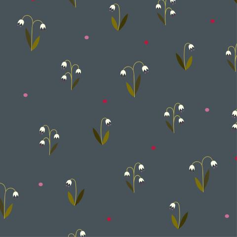 Спокойный темный паттерн с цветами-колокольчиками