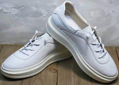 Белые осенние кроссовки кеды утепленные женские Rozen M-520 All White.