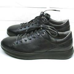 Мужские кожаные туфли кеды для ходьбы демисезонные Ikoc 1725-1 Black.