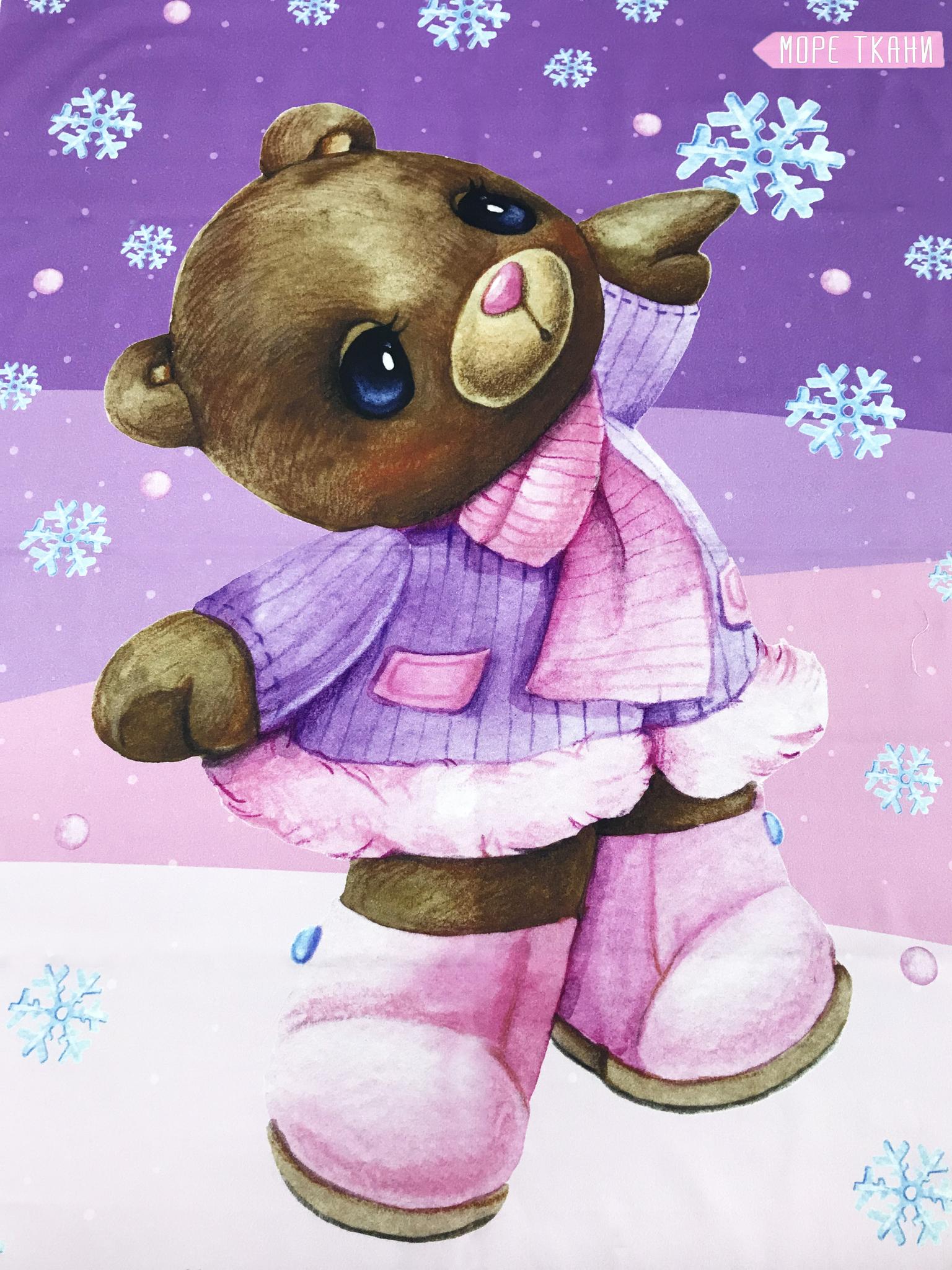 Панель(купон)  мишка в фиолетовом пальто и сапожках -75*100 см